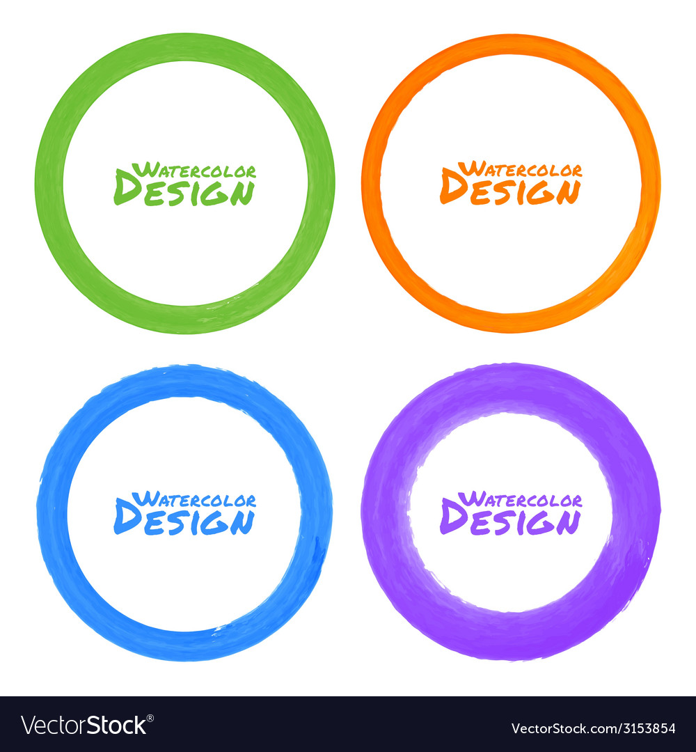 Set of watercolor colorful grunge circle stains vector | Price: 1 Credit (USD $1)