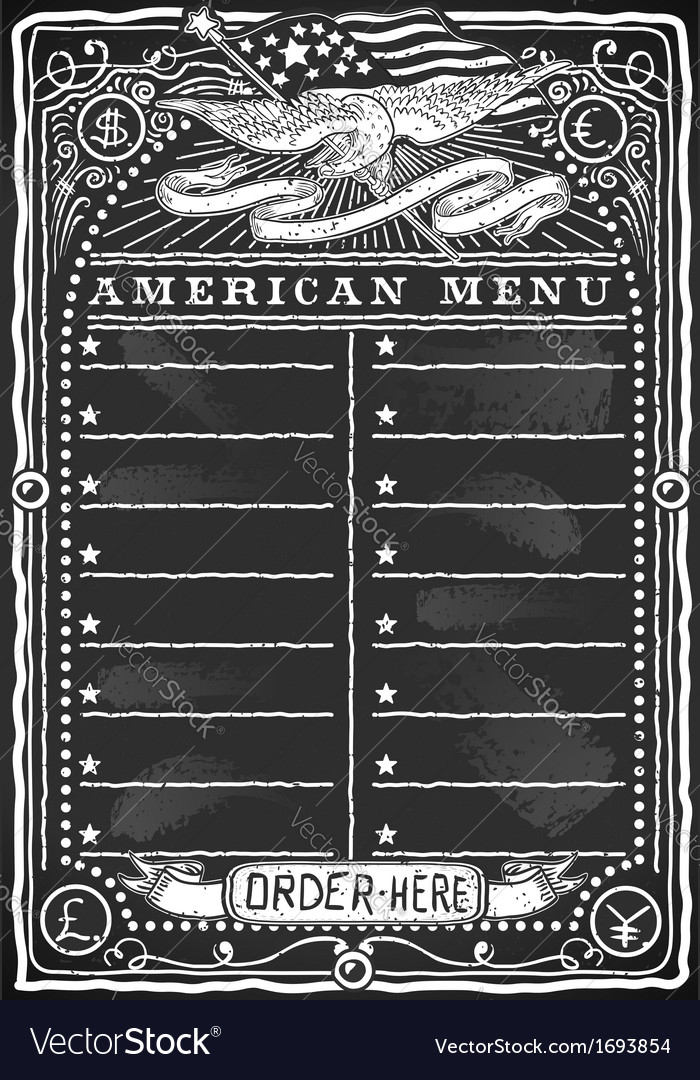 Vintage graphic blackboard for american menu vector | Price: 1 Credit (USD $1)