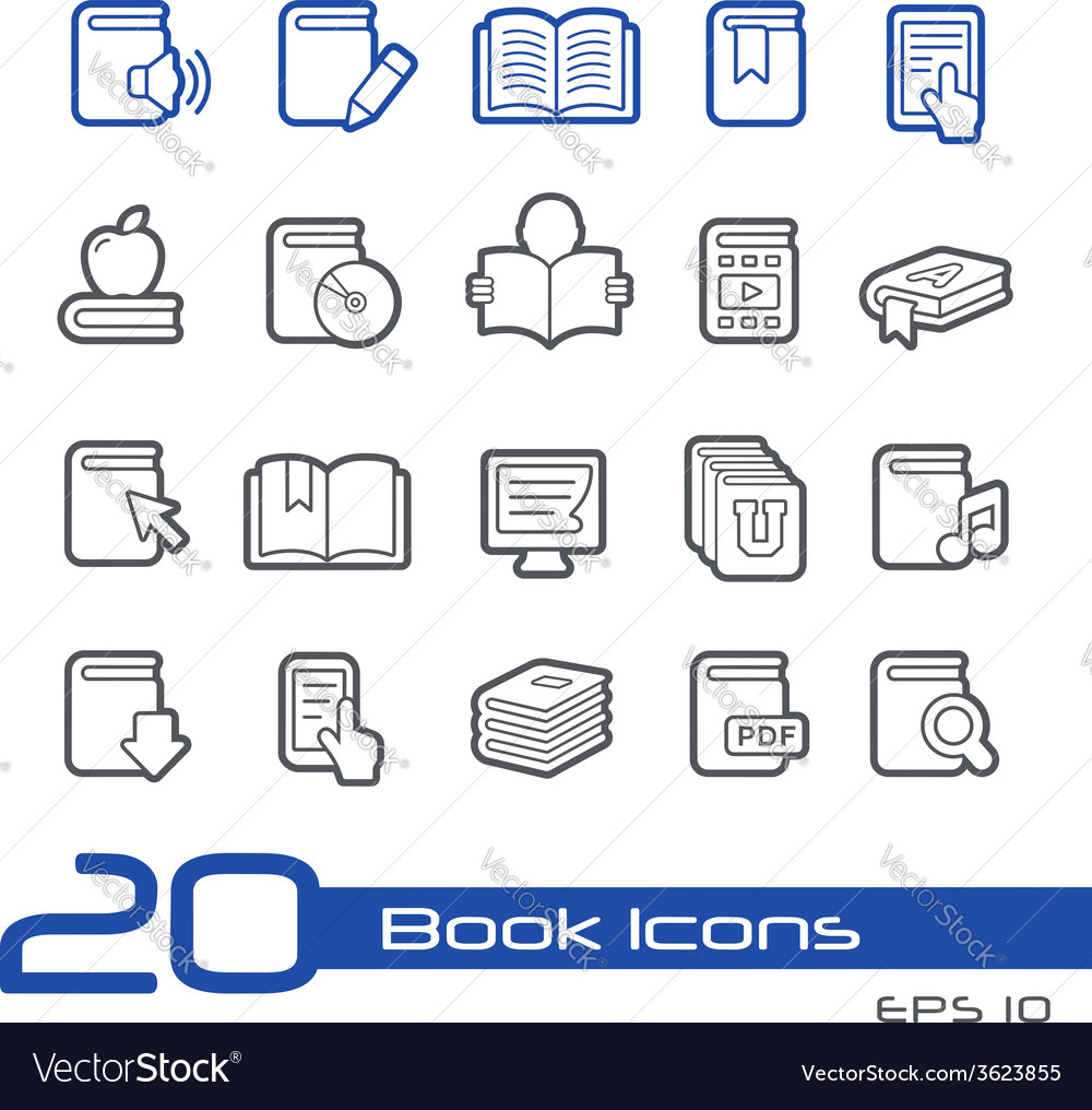 Books icons outline series vector | Price: 1 Credit (USD $1)