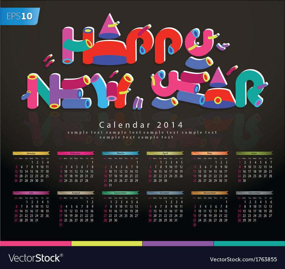 Candy calendar 2014 new year vector | Price: 1 Credit (USD $1)