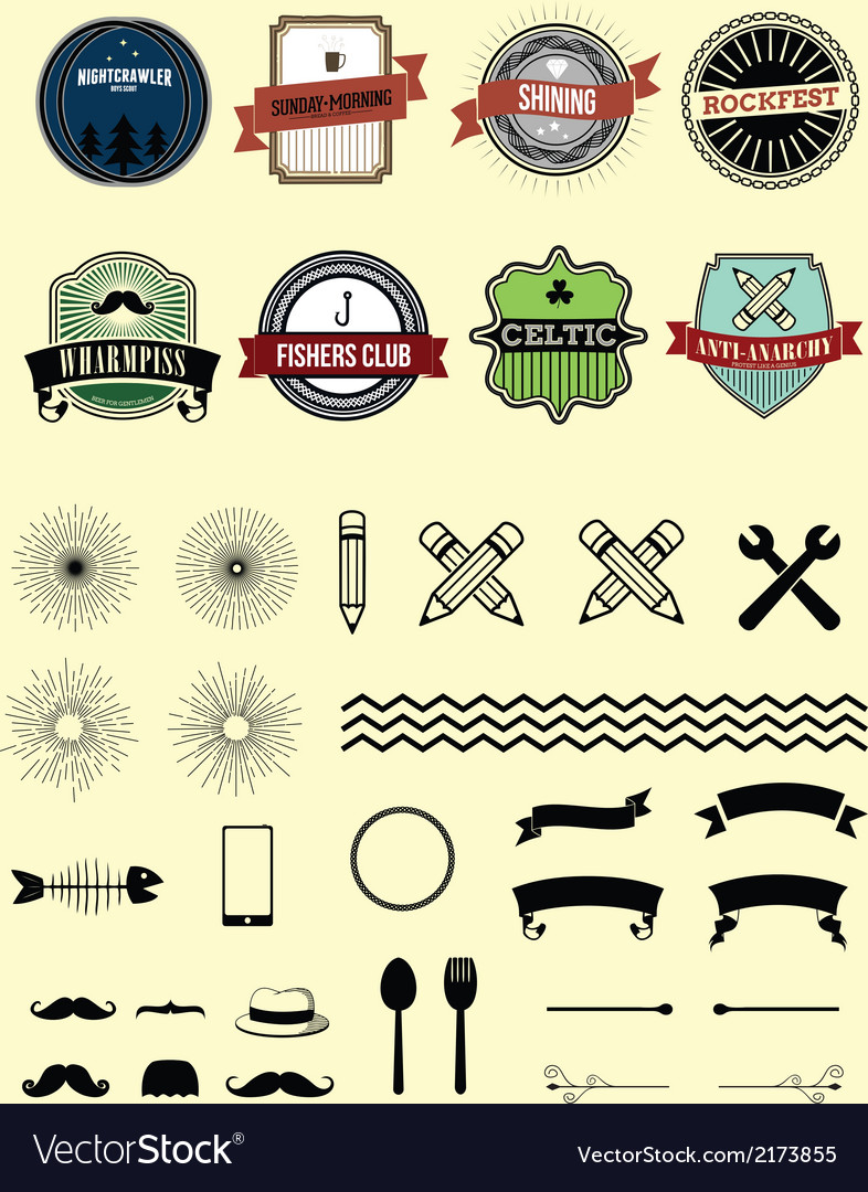 Classic badges plus decorative elements vector | Price: 1 Credit (USD $1)