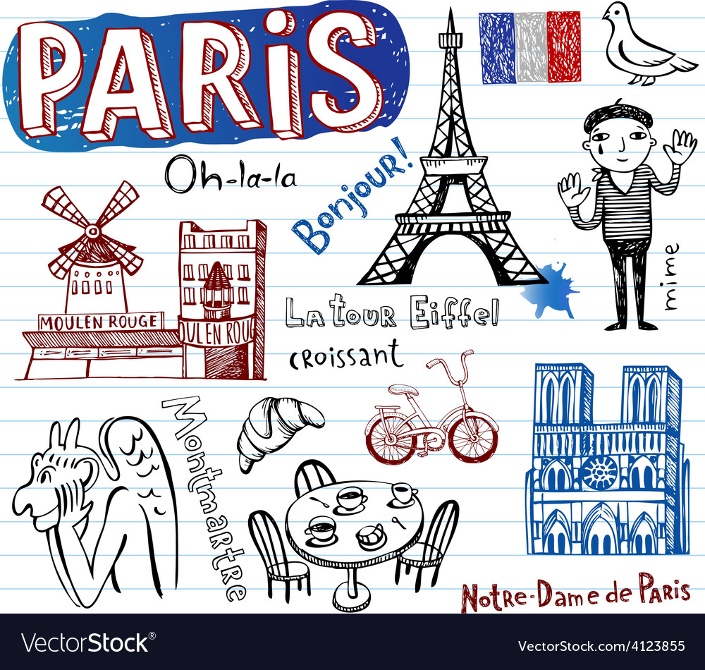 France symbols as funky doodles vector | Price: 1 Credit (USD $1)