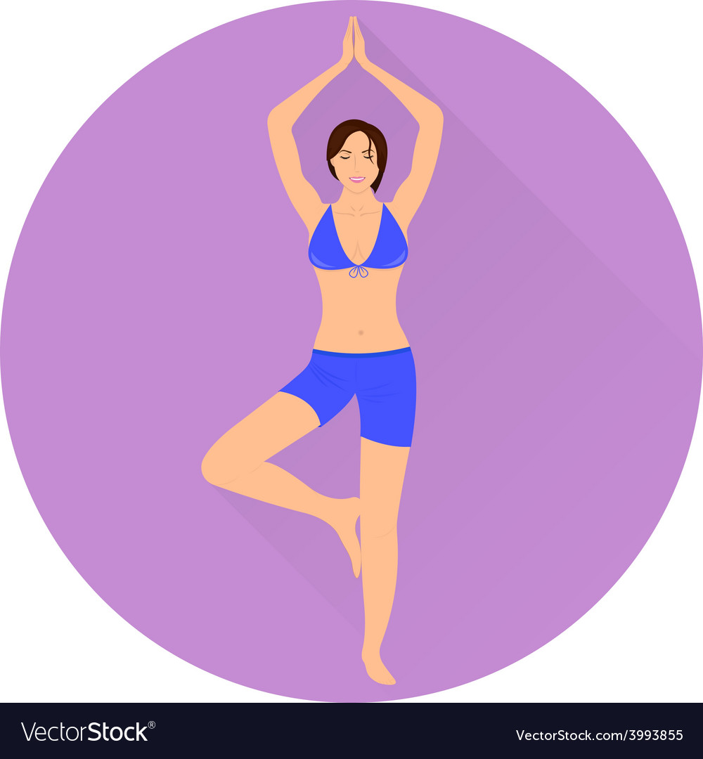 The girl is engaged in yoga icon vector | Price: 1 Credit (USD $1)