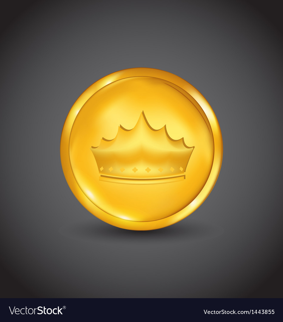 Golden coin with heraldic crown vector | Price: 1 Credit (USD $1)