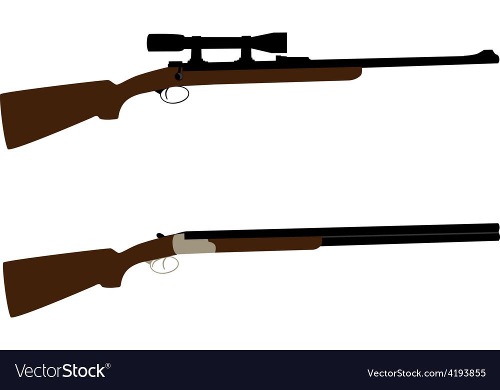 Hunting rifle and shotgun vector