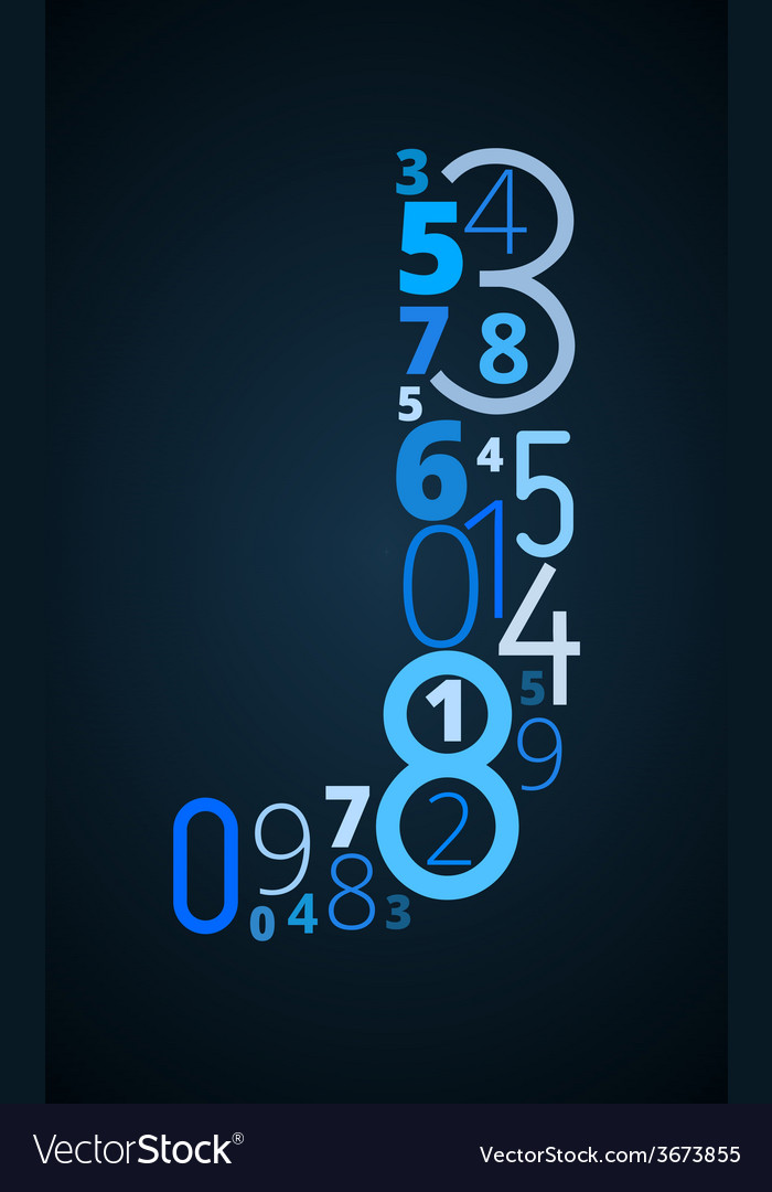 Letter j font from numbers vector | Price: 1 Credit (USD $1)