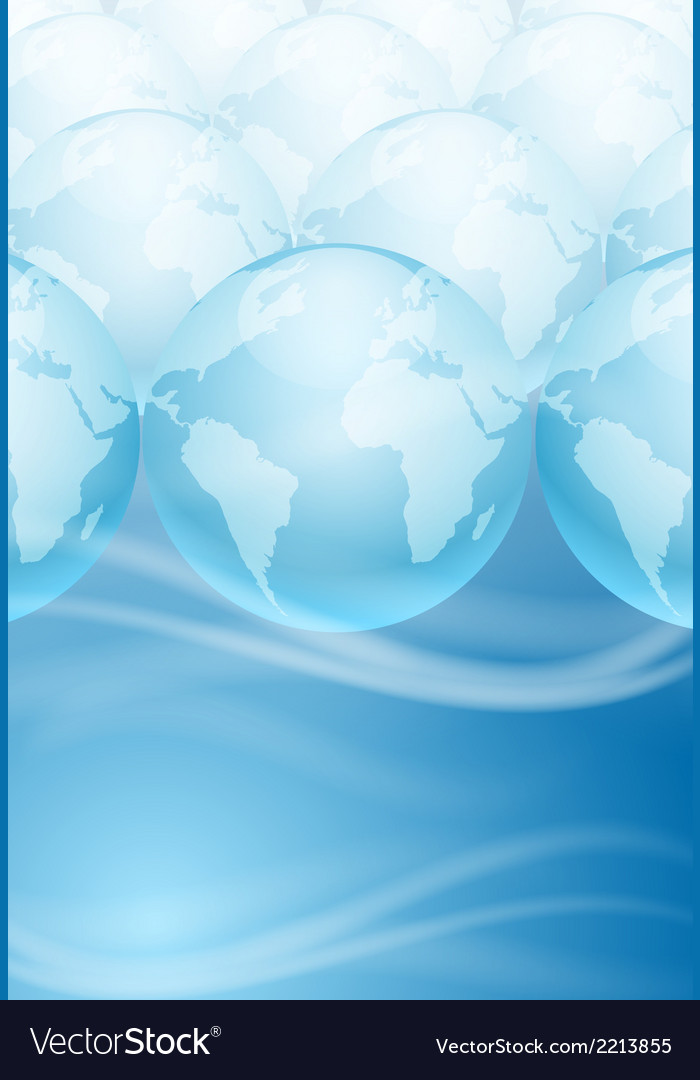 Many globes on a blue background vector | Price: 1 Credit (USD $1)