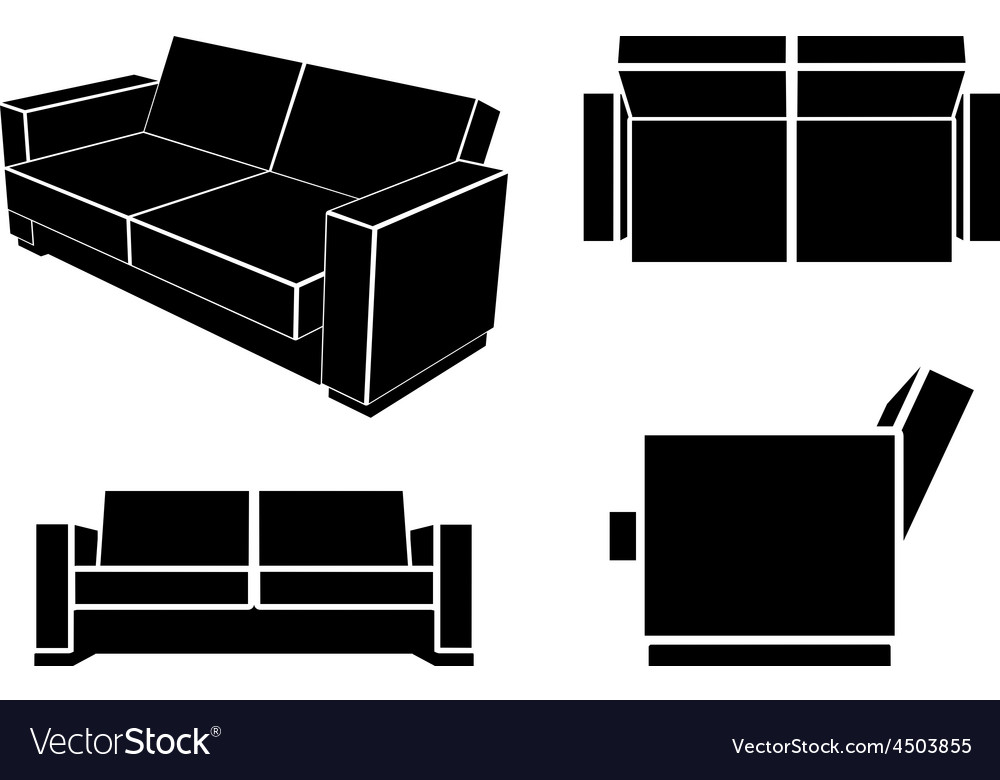 Modern sofa couch different views vector | Price: 1 Credit (USD $1)