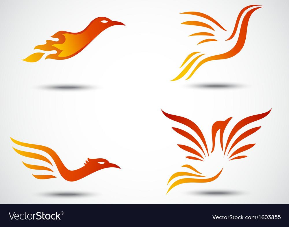 Phoenix bird icon collection set vector | Price: 1 Credit (USD $1)
