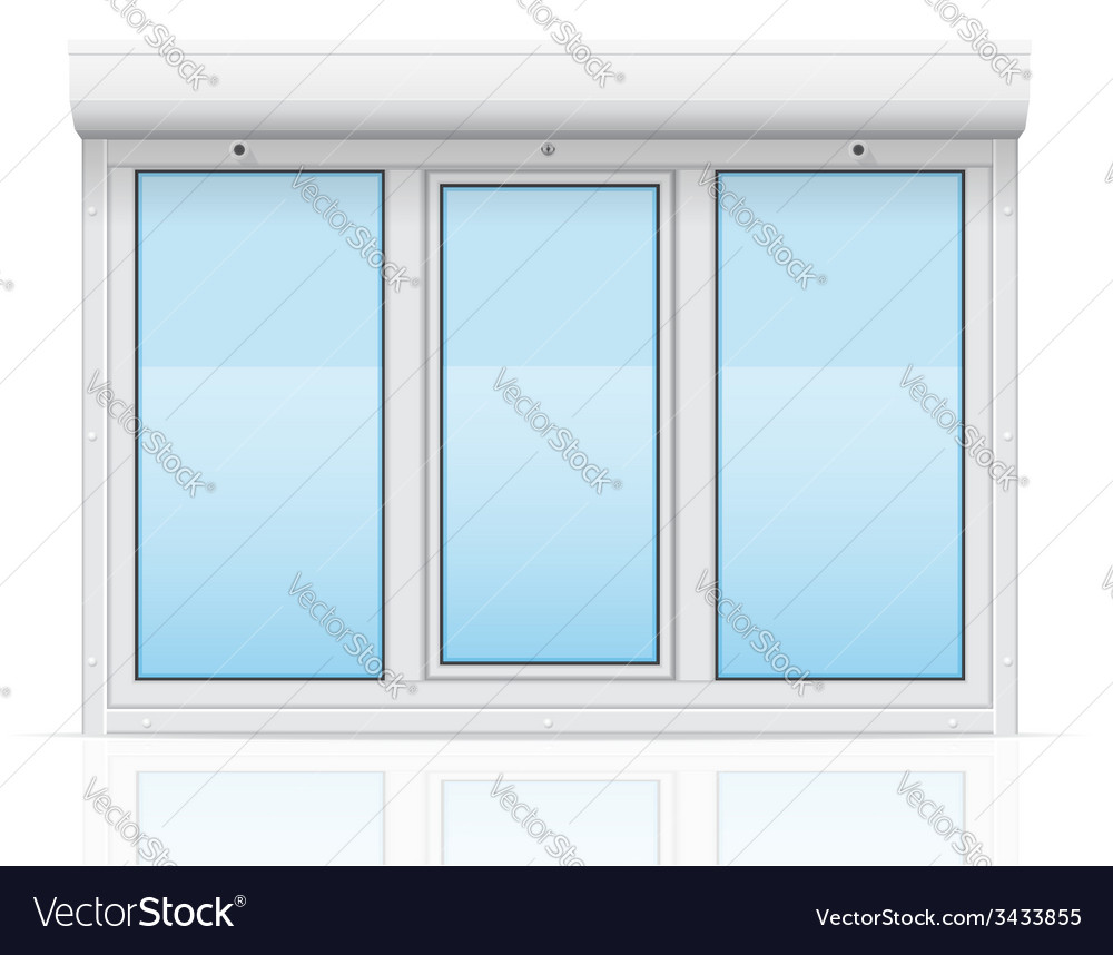 Plastic window with rolling shutters 05 vector | Price: 1 Credit (USD $1)