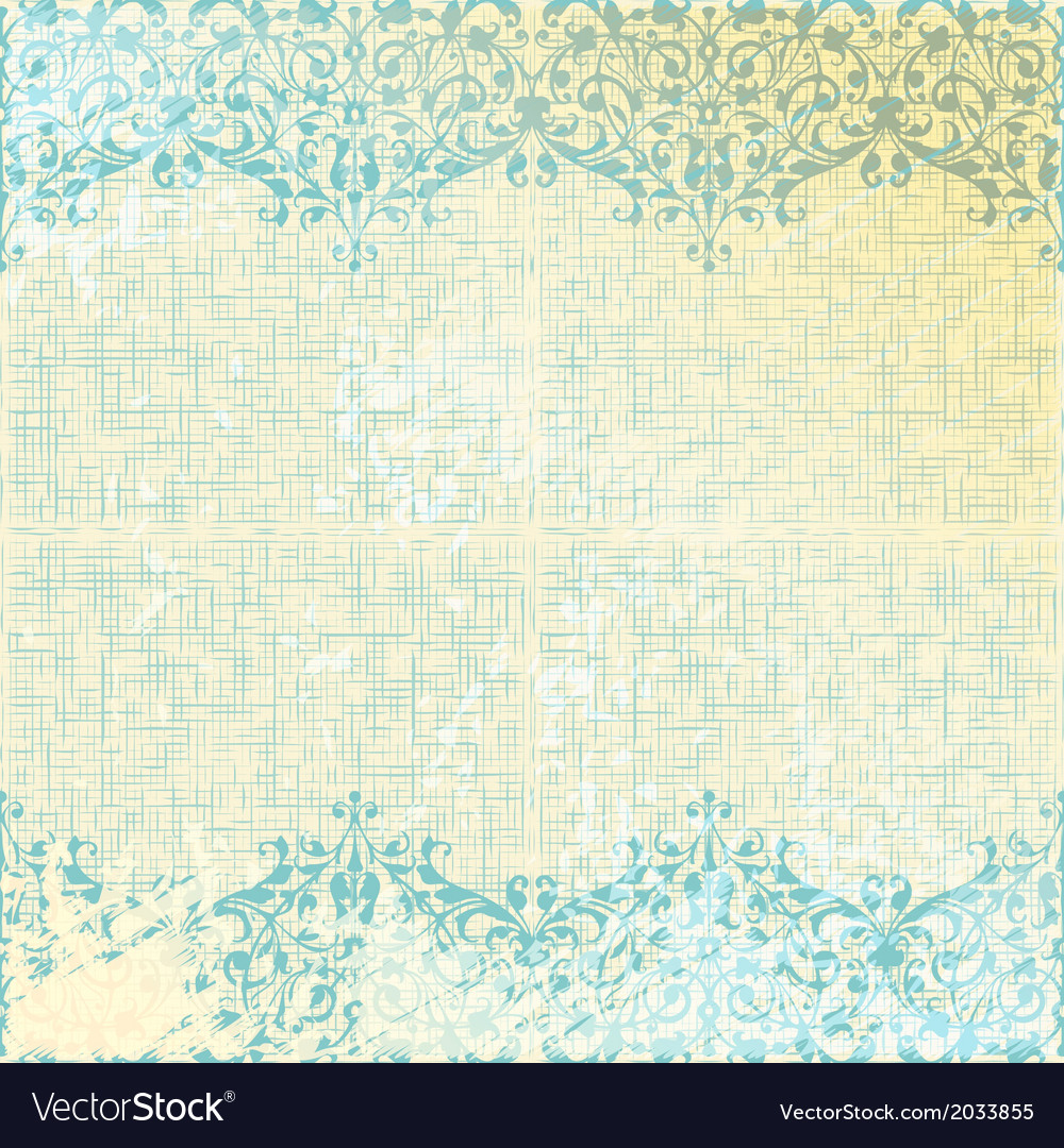 Vintage beige and turquoise floral background vector | Price: 1 Credit (USD $1)