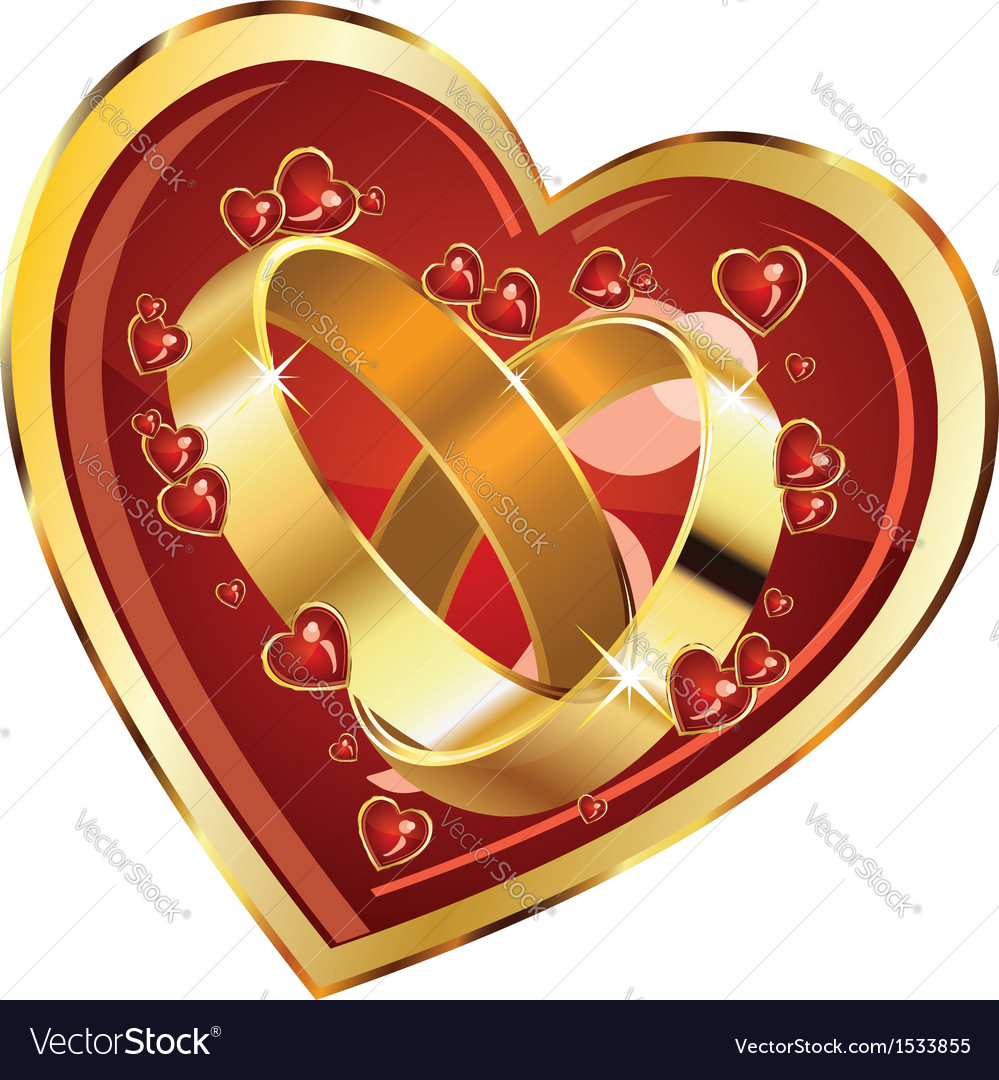 Wedding rings in heart vector | Price: 1 Credit (USD $1)