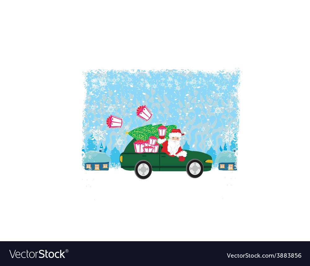 Abstract card with santa claus driving car with vector | Price: 1 Credit (USD $1)