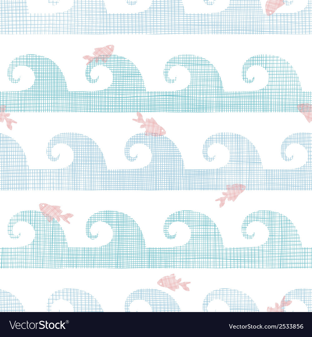 Abstract textile fish among waves seamless pattern vector | Price: 1 Credit (USD $1)