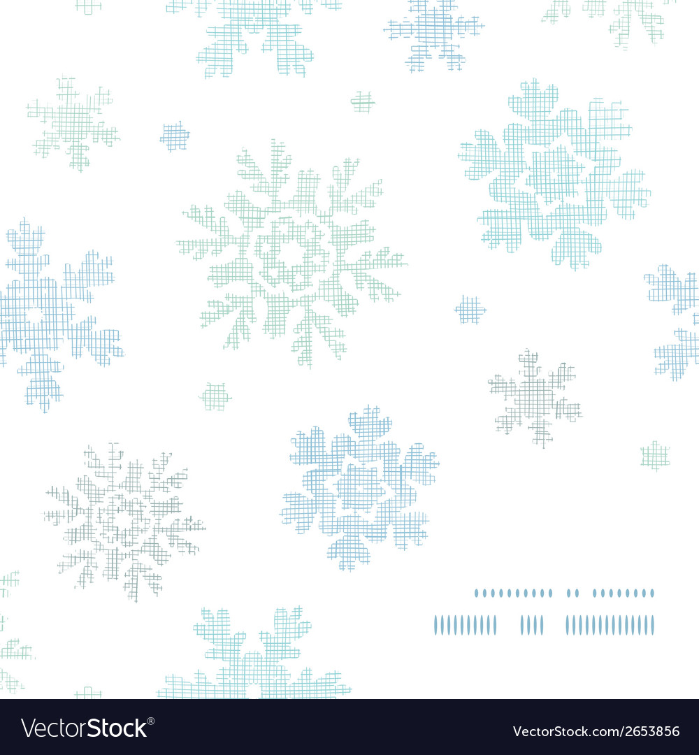Blue christmas snowflakes textile texture frame vector | Price: 1 Credit (USD $1)
