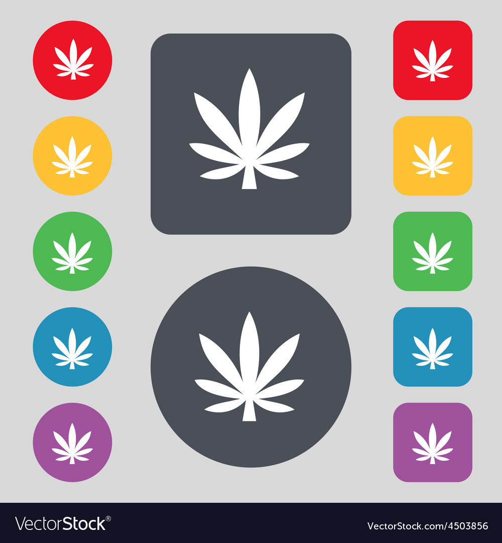 Cannabis leaf icon sign a set of 12 colored vector | Price: 1 Credit (USD $1)