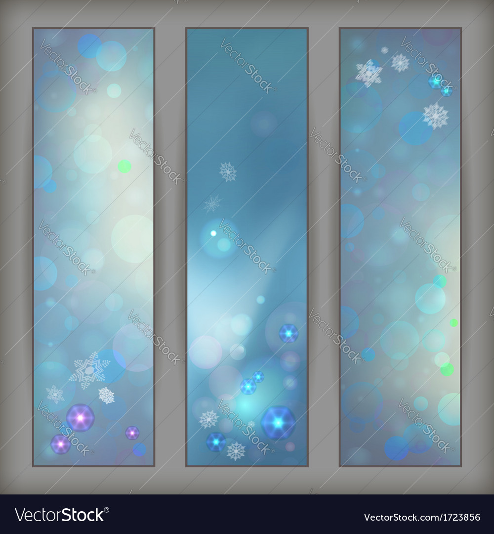 Christmas abstract bokeh snowflake banners vector | Price: 1 Credit (USD $1)