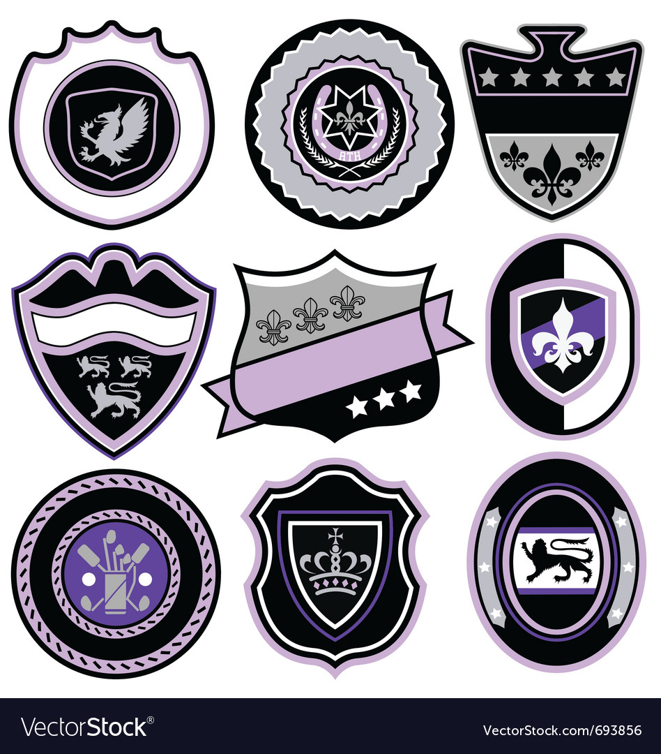 Classic sport emblem badge set vector | Price: 1 Credit (USD $1)