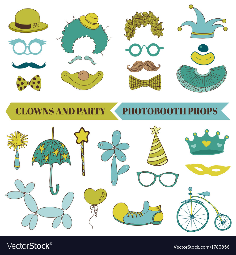 Clown and party - photobooth set vector | Price: 1 Credit (USD $1)