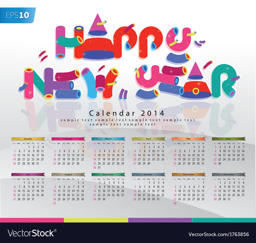 Colorful calendar 2014 new year background vector | Price: 1 Credit (USD $1)