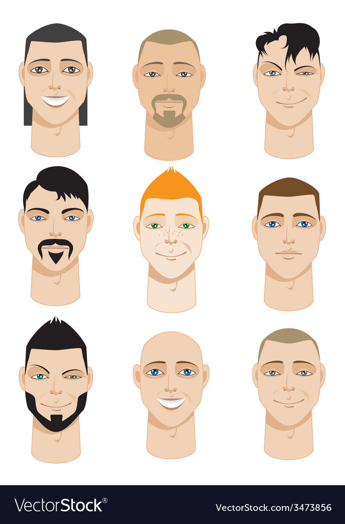 Colorful male faces vector | Price: 1 Credit (USD $1)