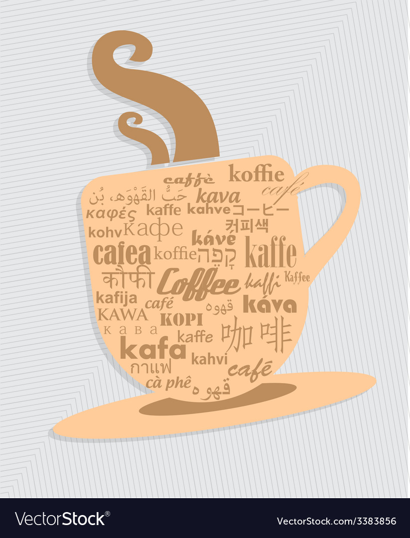 Cup of coffee in 36 different language vector | Price: 1 Credit (USD $1)