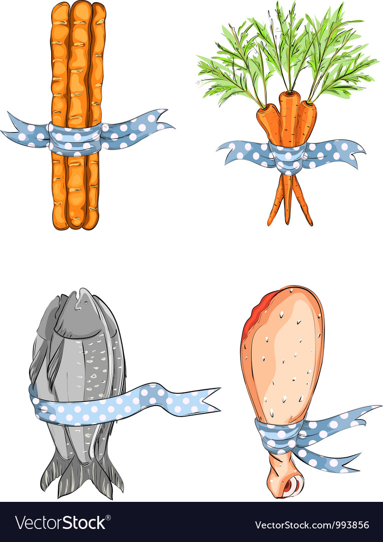 Fish bread carrot chicken with ribbons vector | Price: 3 Credit (USD $3)