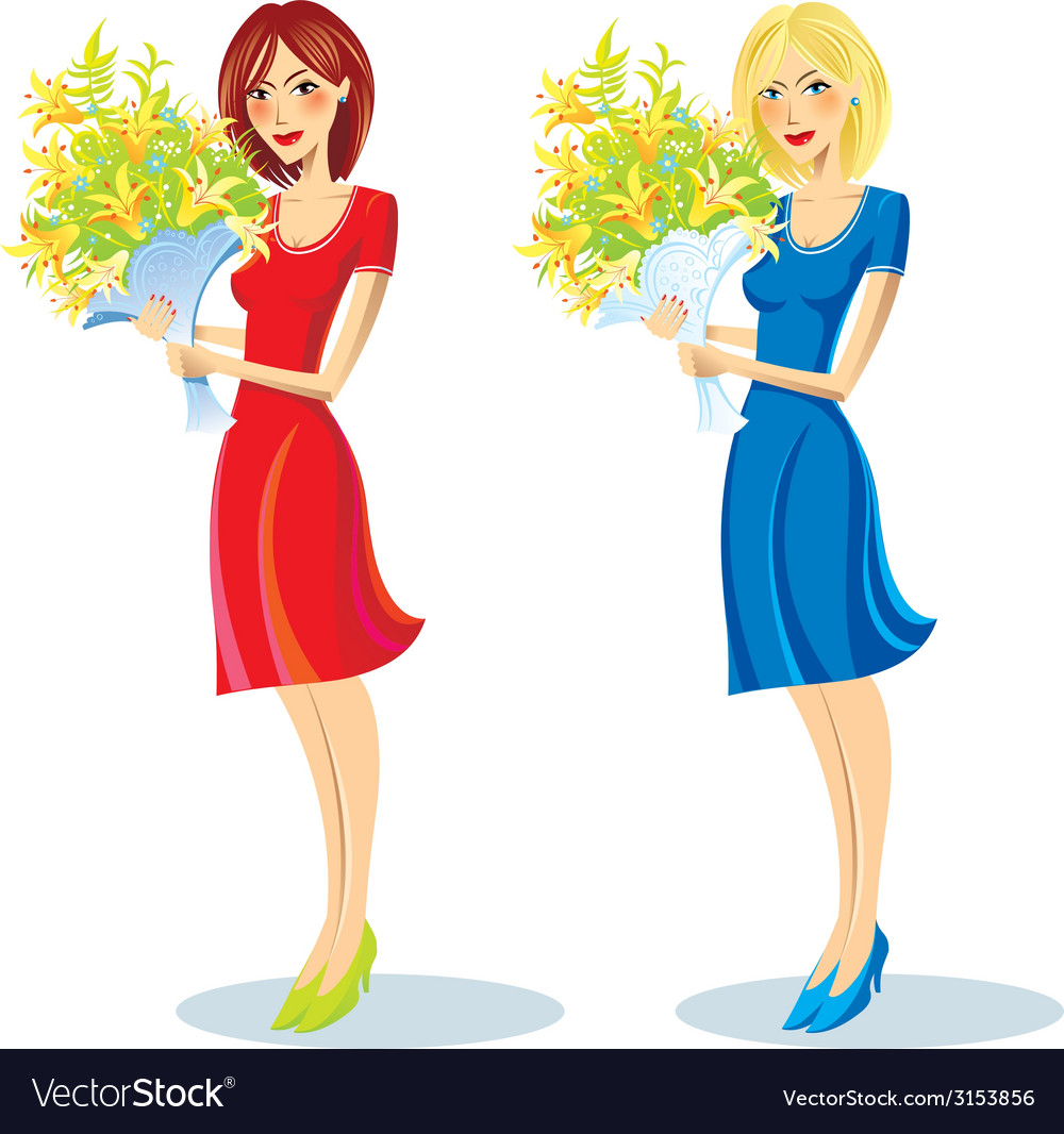 Girl with bouquet in hand vector | Price: 1 Credit (USD $1)