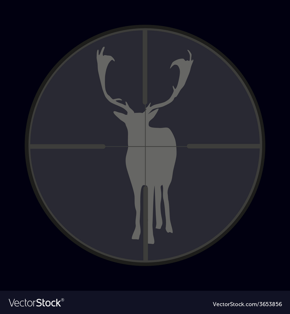 Hunting season with deer gray in gunsight eps10 vector | Price: 1 Credit (USD $1)