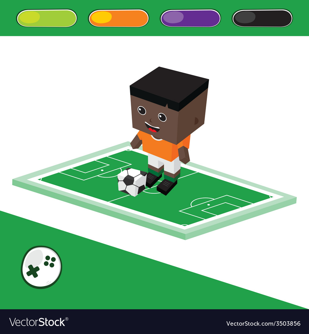 Soccer block isometric cartoon character vector | Price: 1 Credit (USD $1)