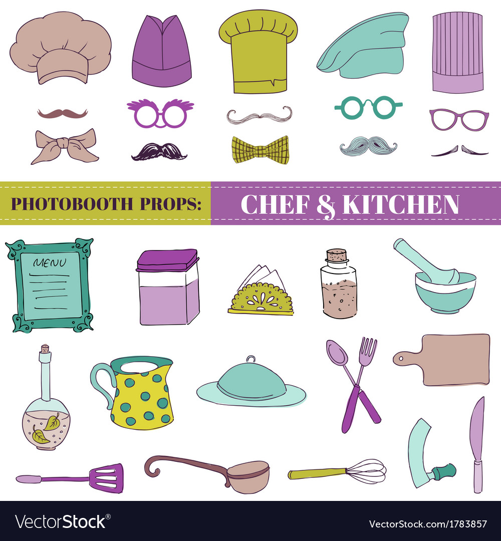 Chef and kitchen - photobooth set vector | Price: 1 Credit (USD $1)