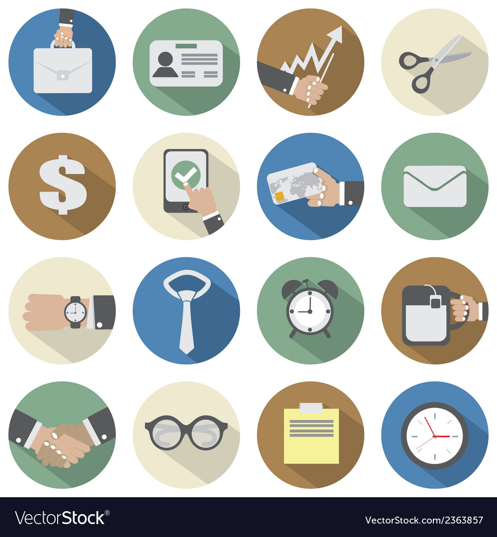Flat design office icons vector | Price: 1 Credit (USD $1)