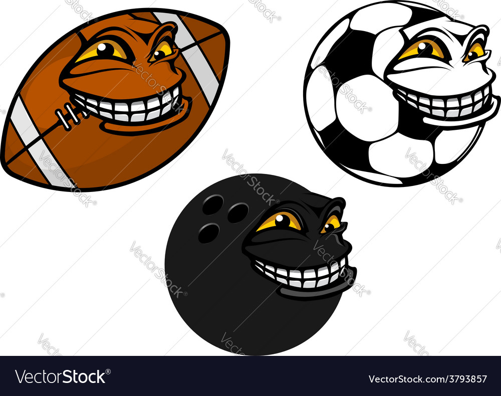 Grinning cartoon soccer football and bowling ball vector | Price: 1 Credit (USD $1)