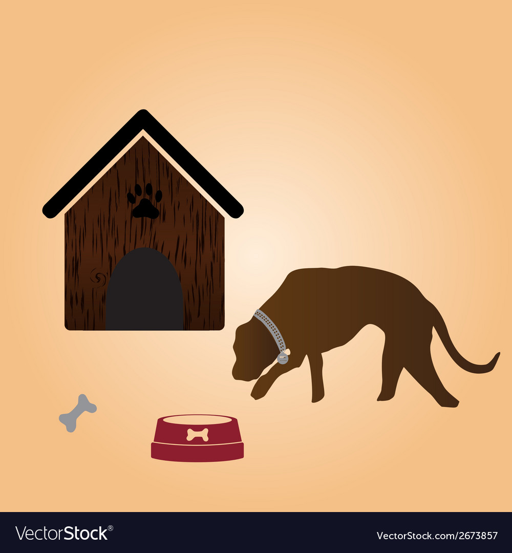 One dog and doghouse eps10 vector | Price: 1 Credit (USD $1)