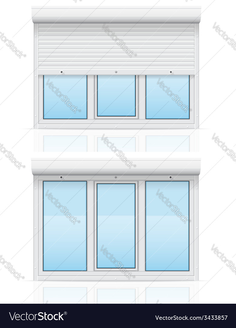 Plastic window with rolling shutters 06 vector | Price: 1 Credit (USD $1)