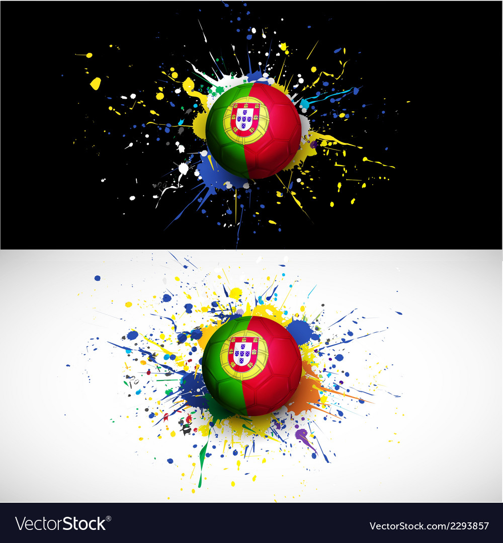 Portugal flag with soccer ball dash on colorful vector | Price: 1 Credit (USD $1)