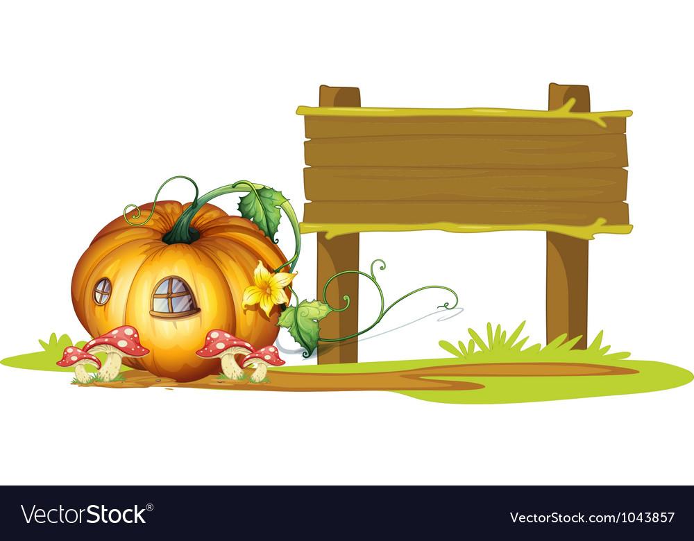 Pumpkin wooden signpost vector | Price: 1 Credit (USD $1)