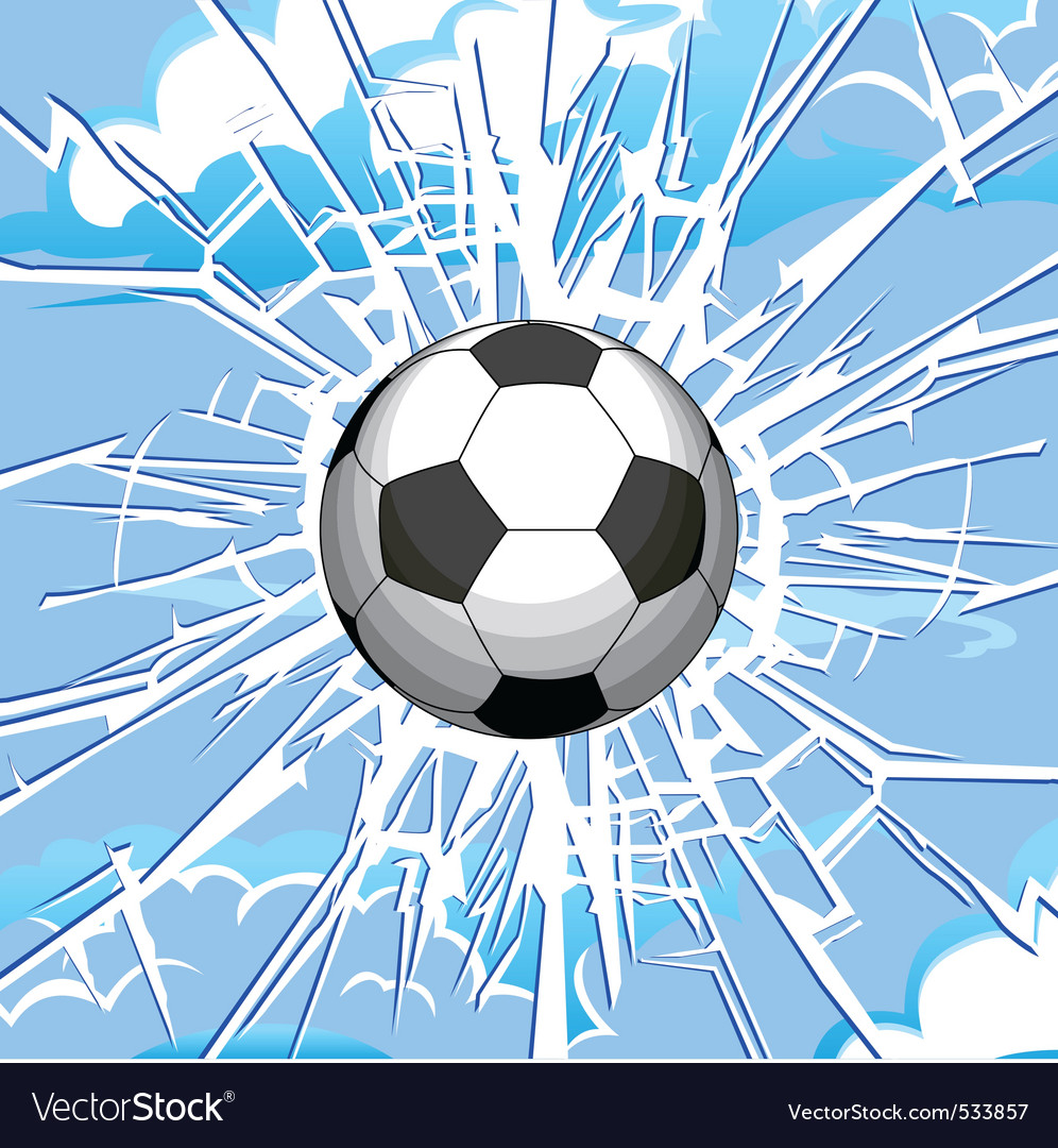 Soccer ball and a crack on the glass vector | Price: 1 Credit (USD $1)