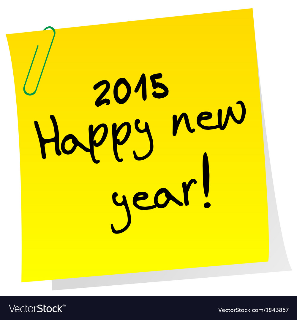 Sticker note with 2015 happy new year message vector | Price: 1 Credit (USD $1)