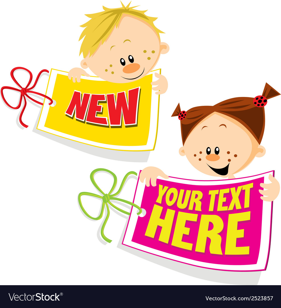 Tag with girl and boy vector | Price: 1 Credit (USD $1)