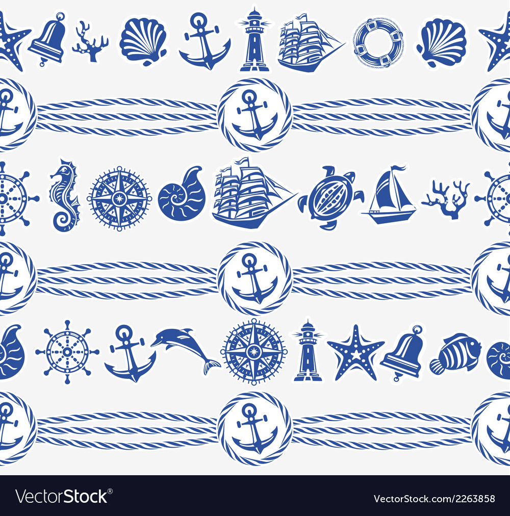 Banners with nautical and sea symbols vector | Price: 1 Credit (USD $1)