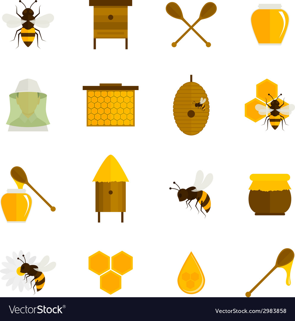 Bee honey icons flat set vector | Price: 1 Credit (USD $1)