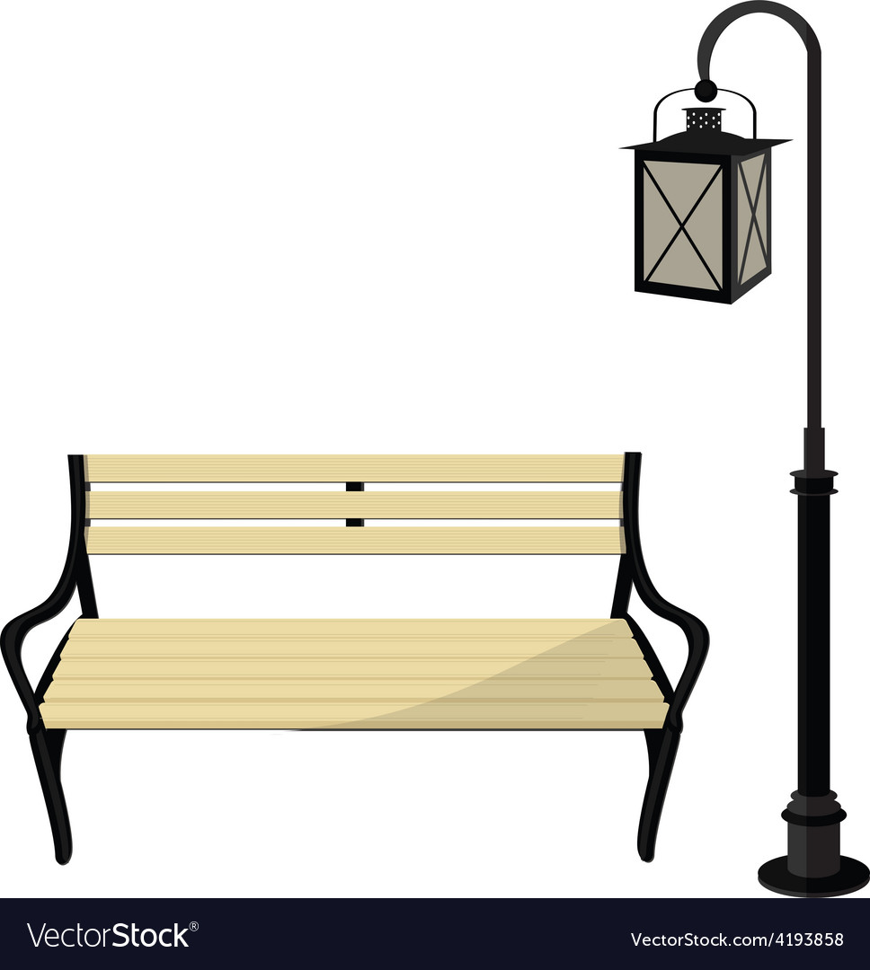 Bench and lantern vector | Price: 1 Credit (USD $1)