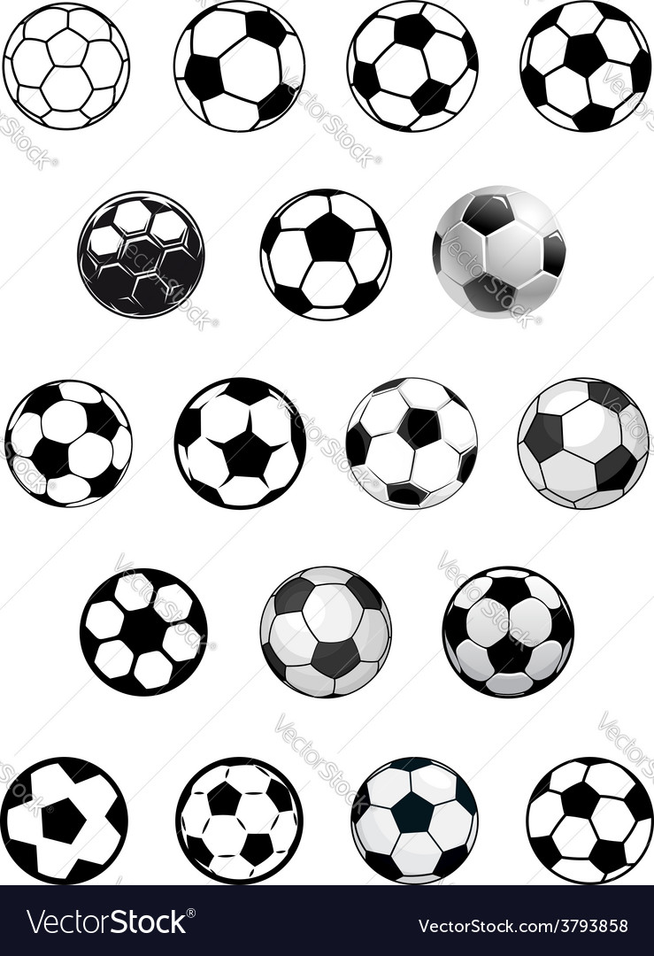 Black and white soccer balls or footballs vector | Price: 1 Credit (USD $1)