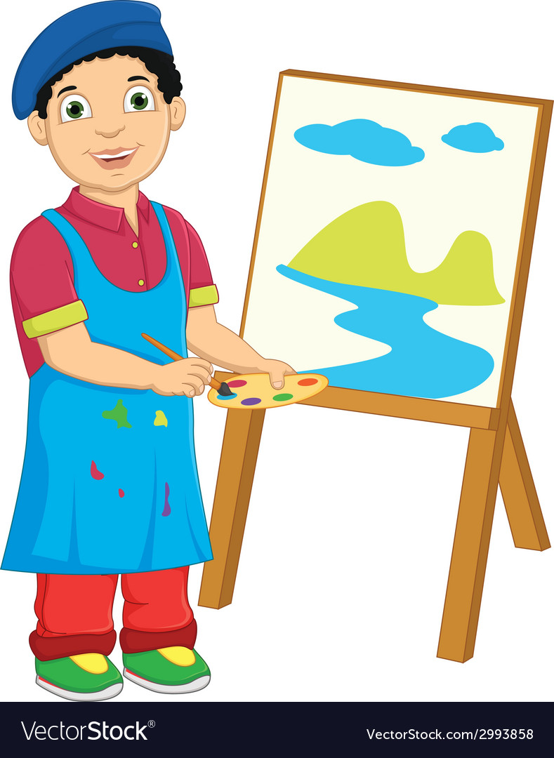 Boy painting vector | Price: 1 Credit (USD $1)