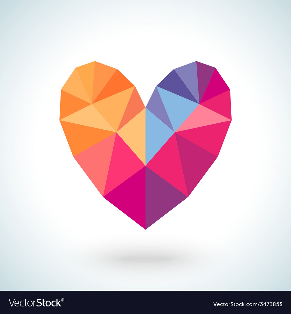Bright colorful heart shape in modern polygonal vector | Price: 1 Credit (USD $1)