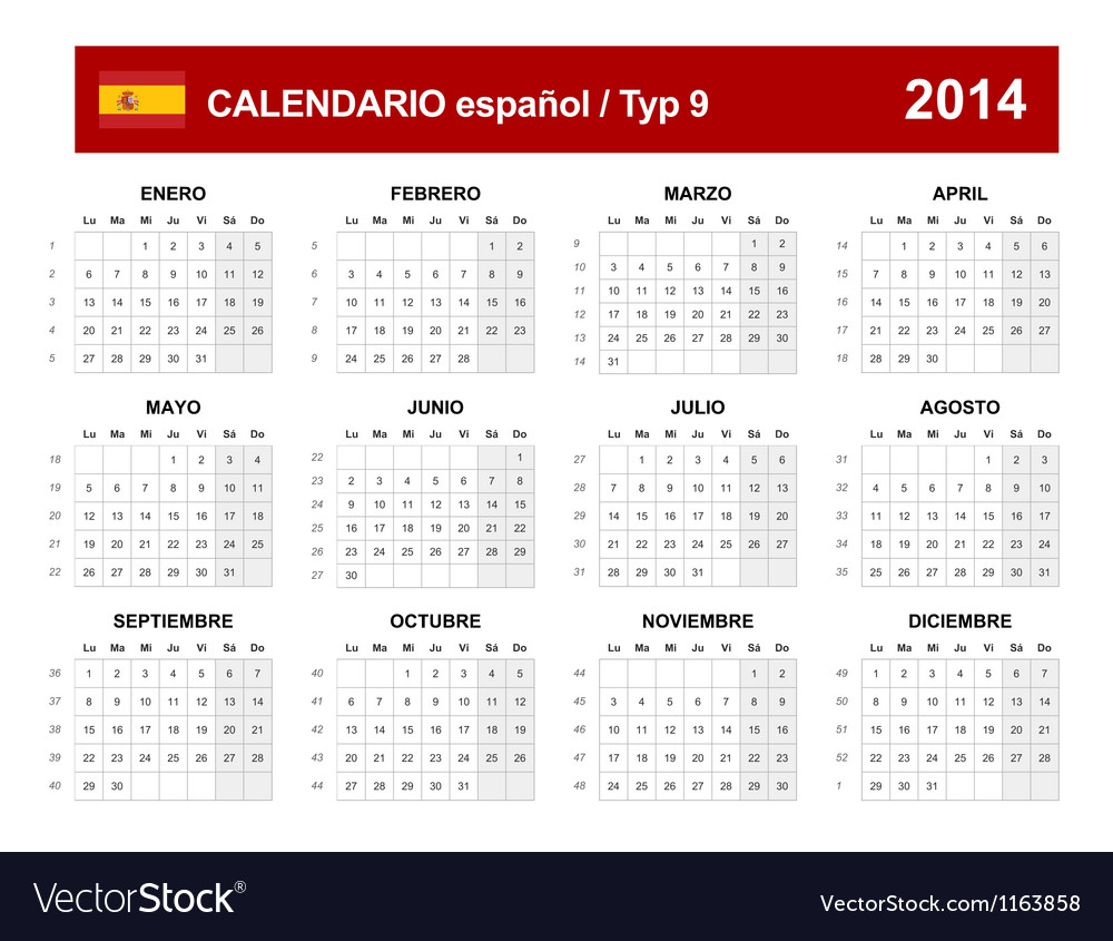 Calendar 2014 spain type 9 vector | Price: 1 Credit (USD $1)