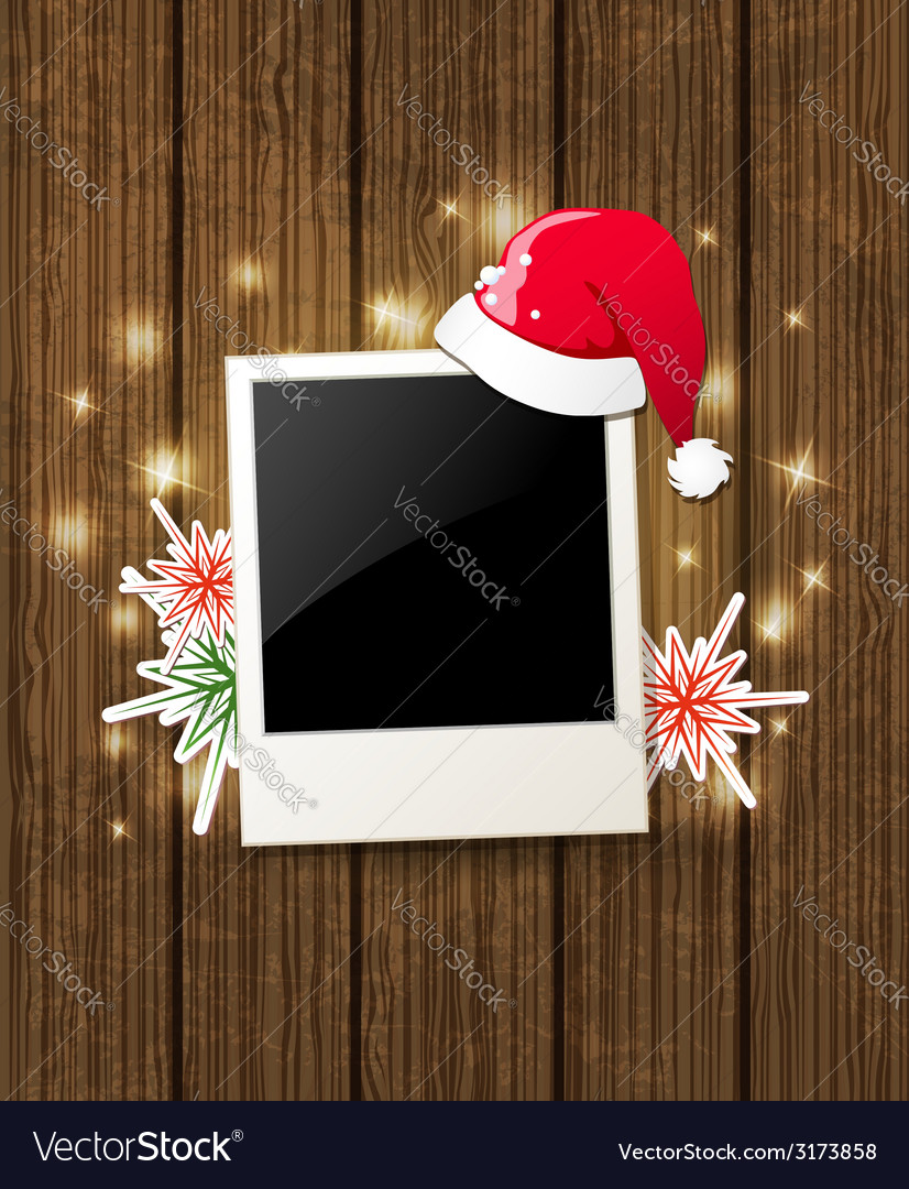 Christmas background with photo and santa hat vector | Price: 1 Credit (USD $1)