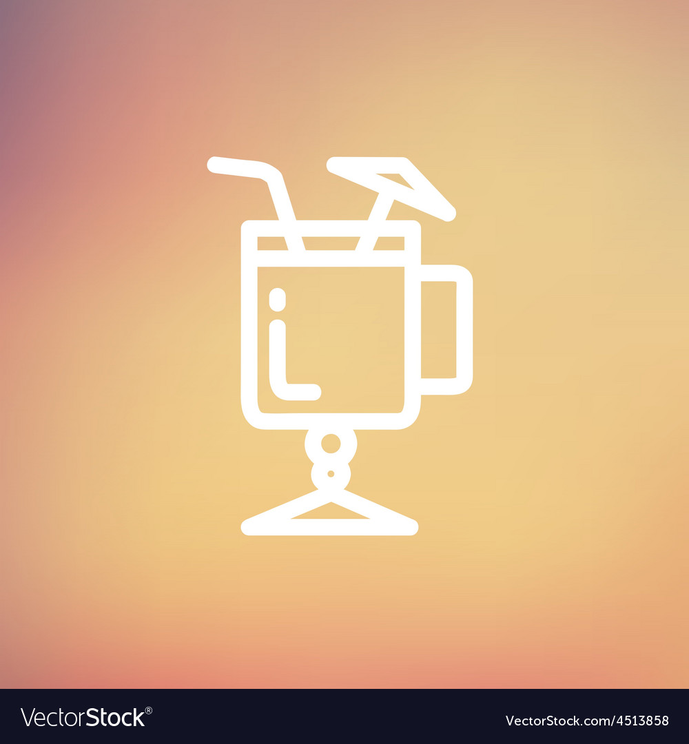 Cold ice tea with straw thin line icon vector | Price: 1 Credit (USD $1)