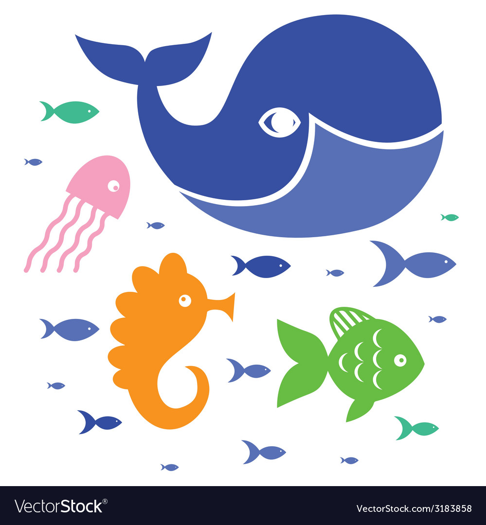 Cute sea characters vector | Price: 1 Credit (USD $1)